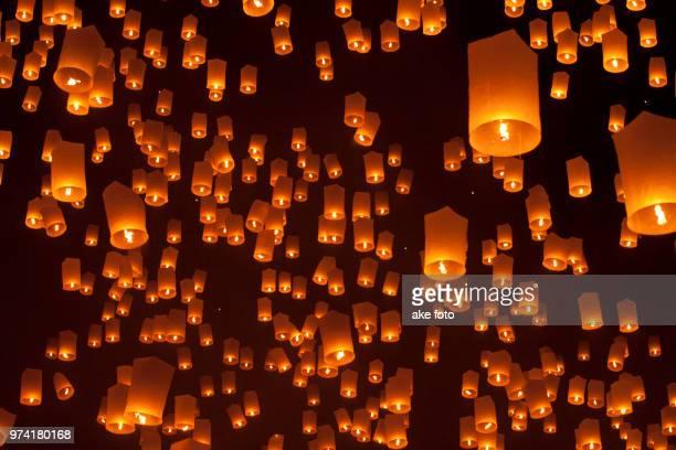 Sky lanterns during Loy Krathong festival, Chiangmai, Thailand
