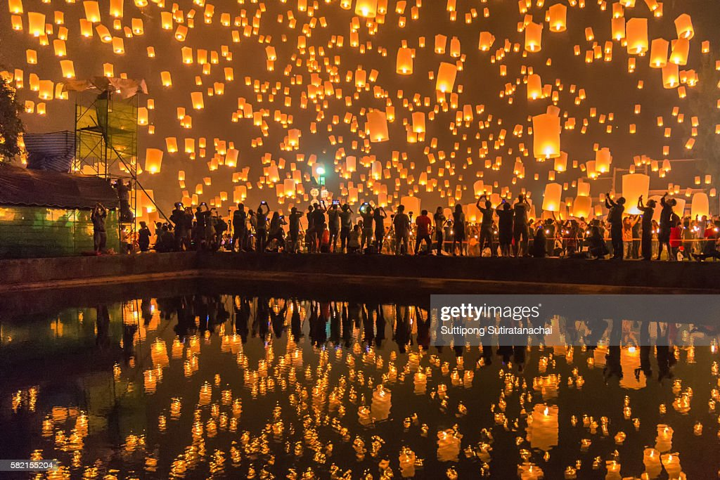 Sky lanterns firework festival, Chiang Mai, Thailand, Loy Krathong and Yi Peng Festival. : Stock Photo
