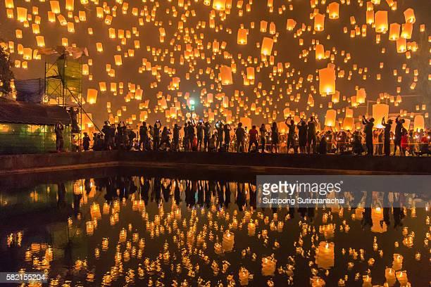 Sky lanterns firework festival, Chiang Mai, Thailand, Loy Krathong and Yi Peng Festival.