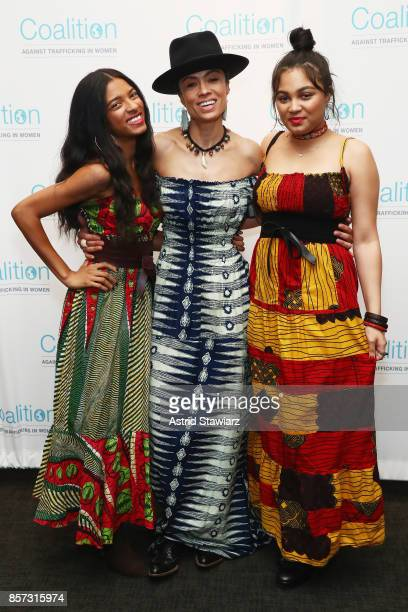 Sky Larrieux Amel Larrieux and Sanji Larrieux attend the Coalition Against Trafficking In Women's 2017 Gala Game Change A Night of Celebration at...