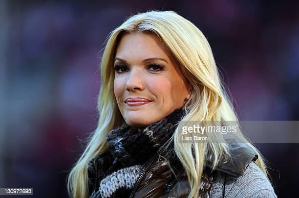 Sky moderator Jessica Kastrop is seen prior to the Bundesliga match between 1 FC Koeln and FC Augsburg at RheinEnergieStadion on October 30 2011 in...