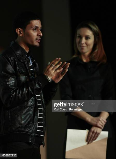 Sky News Business presenter Emma Crosby looks on as Bright Ideas Trust beneficiary Fabien Soazandry speaks at the launch of the Bright Ideas Trust's...