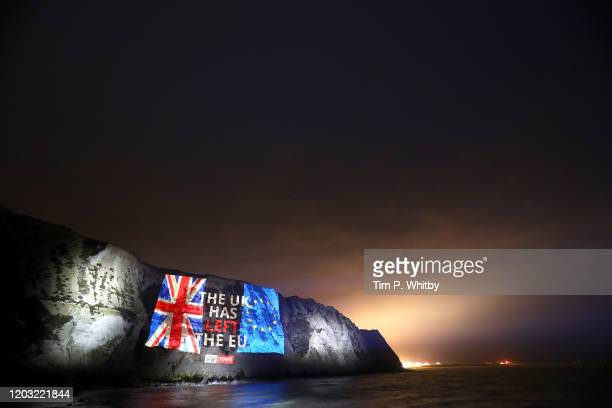 Sky News marks Brexit day by projecting a farewell message on the white cliffs of Dover on January 31, 2020 in Dover, England.