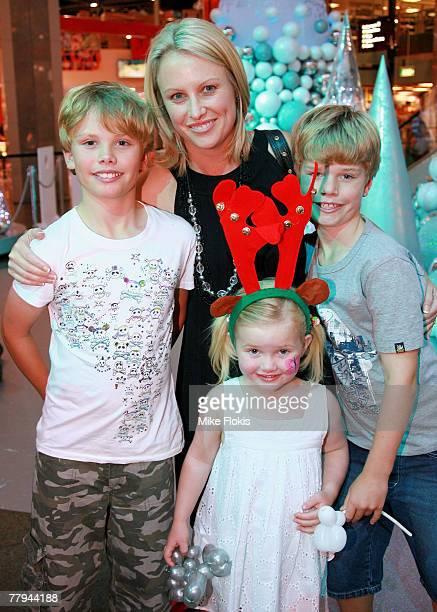 Sky News presenter Celina Edmonds and children at the Santa Clause arrival at Bondi Junction Westfield on November 16 2007 in Sydney Australia