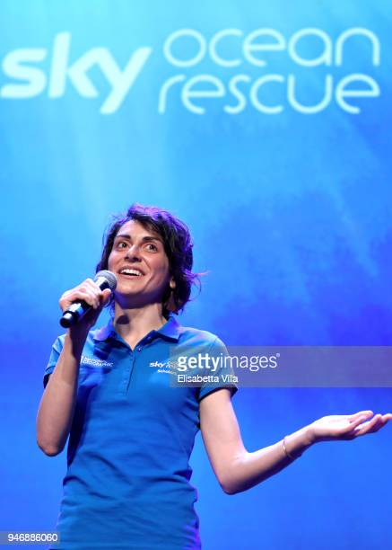 Sky Ocean Rescue Scholar Martina Capriotti speaks on the stage at the National Geographic Science Festival at Auditorium Parco Della Musica on April...