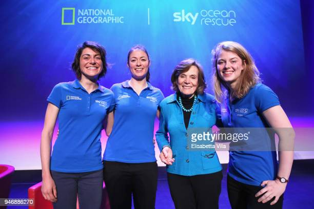 Sky Ocean Rescue Scholars Martina Capriotti Annette Fayet Syliva Earle and Imogean Napper pose on the stage at the National Geographic Science...