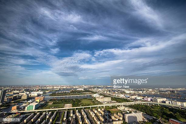 sky of tokyo - nee nee stock photos and pictures