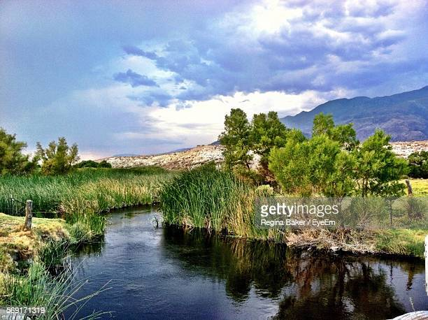 sky over river - lone pine california stock pictures, royalty-free photos & images