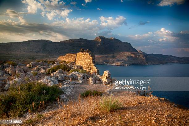 sky - rhodes dodecanese islands stock photos and pictures