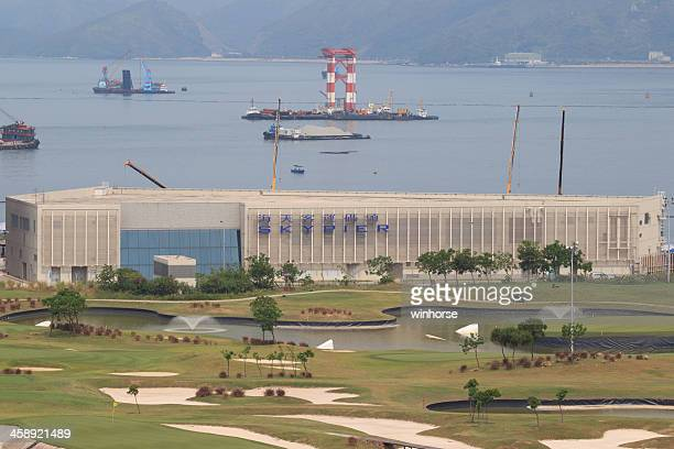 sky pier at hong kong international airport - hong kong international airport stock photos and pictures
