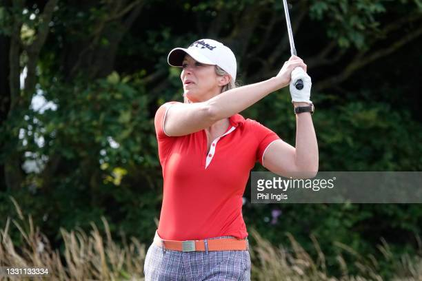 Sky Presenter Georgie Bingham in action during the ProAm ahead of the Staysure PGA Seniors Championship at Formby Golf Club on July 28, 2021 in...
