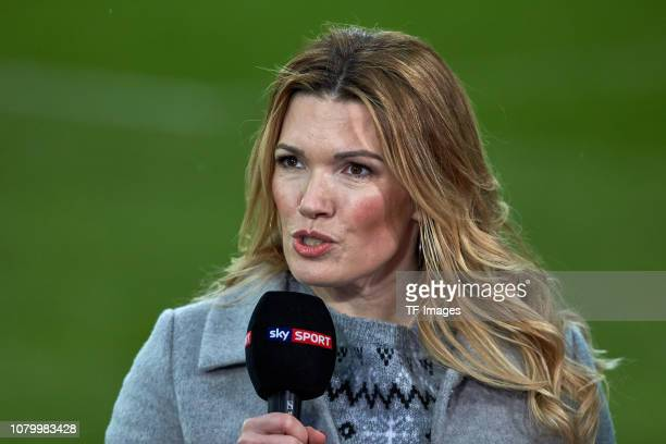 Sky presenter Jessica Kastrop looks on during the Bundesliga match between FC Augsburg and VfL Wolfsburg at WWK-Arena on December 23, 2018 in...
