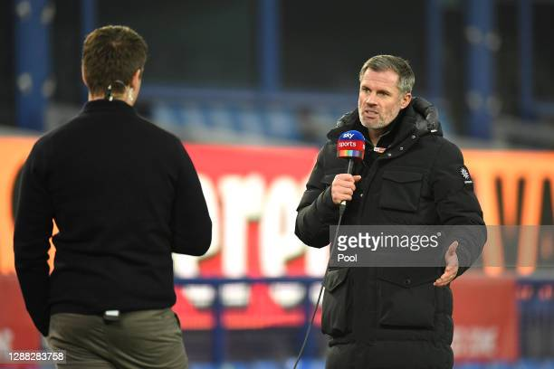 Sky Pundit Jamie Carragher is seen prior to the Premier League match between Everton and Leeds United at Goodison Park on November 28, 2020 in...