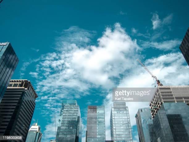 sky scrapers in bonifacio global city in taguig city, philippines - hauptstadtregion stock-fotos und bilder