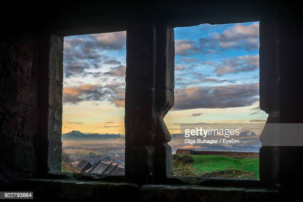 sky seen through window - stirling stock pictures, royalty-free photos & images
