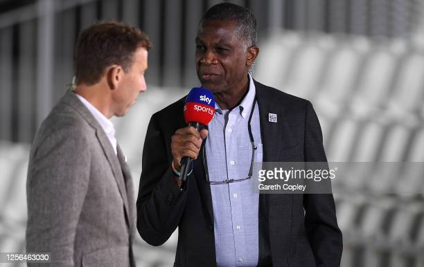 Sky Sports Broadcaster Michael Holding speaks to colleague Michael Atherton prior to Day One of the 2nd Test Match in the #RaiseTheBat Series between...