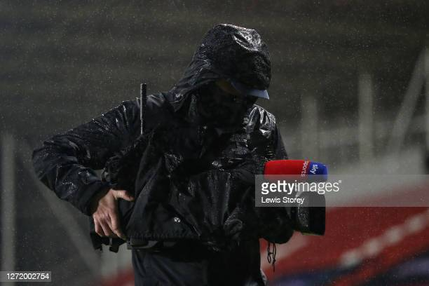 Sky Sports cameraman is seen during the Betfred Super League match between Leeds Rhinos and Huddersfield Giants at Totally Wicked Stadium on...