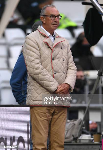Sky Sports commentator David 'Bumble' Lloyd wearing a bonny coat looks on during The Hundred match between Northern Superchargers Women and Oval...