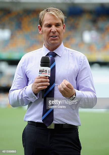 Sky Sports commentator Shane Warne ahead of day four of the First Ashes Test match between Australia and England at The Gabba on November 24 2013 in...