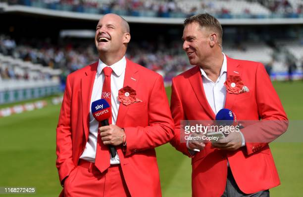 Sky Sports commentators Andrew Strauss and Shane Warne during day two of the 2nd Specsavers Ashes Test match at Lord's Cricket Ground on August 15...
