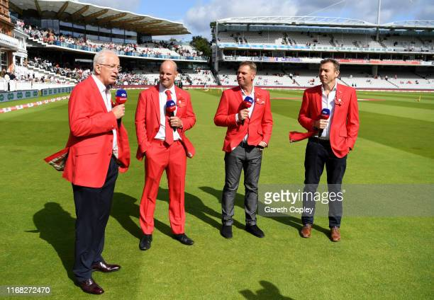 Sky Sports commentators David Gower Andrew Strauss Shane Warne and Michael Atherton during day two of the 2nd Specsavers Ashes Test match at Lord's...