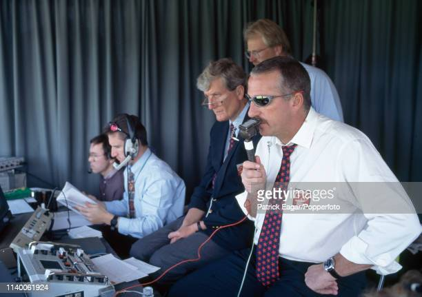 Sky Sports commentators Ian Botham , Bob Willis and Paul Allott commentating on the Benson and Hedges Cup Semi Final between Kent and...