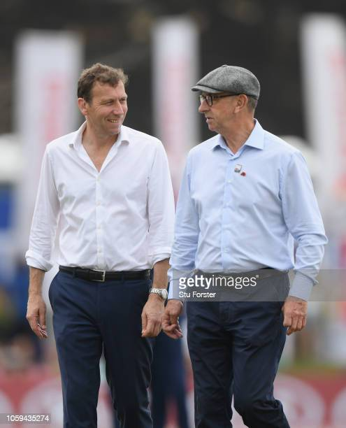 Sky Sports commentators Michael Atherton and David 'Bumble' Lloyd discuss before Day Four of the First Test match between Sri Lanka and England at...