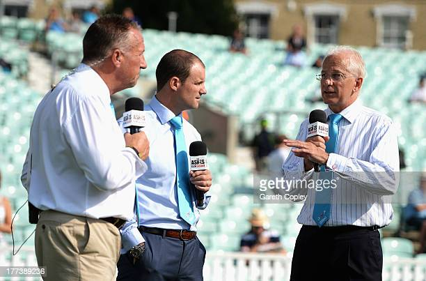 Sky Sports commentators Sir Ian Botham Andrew Strauss and David Gower talk prior to day three of the 5th Investec Ashes Test match between England...