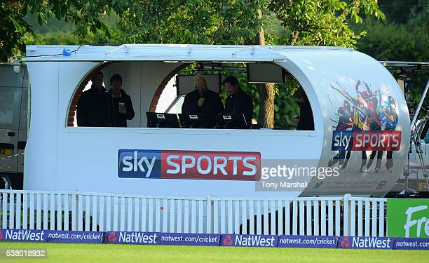 Sky Sports commentry booth during the NatWest T20 Blast match between Worcestershire Rapids and Yorkshire Vikings at New Road on June 2 2016 in...