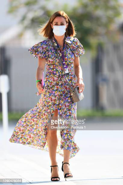 Sky Sports F1 presenter Natalie Pinkham walks in the Paddock during previews ahead of the F1 Grand Prix of Abu Dhabi at Yas Marina Circuit on...