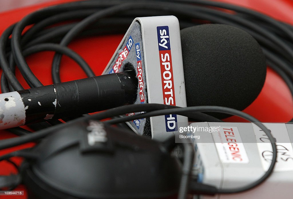 A Sky Sports HD branded microphone sits on the perimeter of the soccer pitch at Wigan Athletic Football Club in Wigan, U.K., on Saturday, Aug. 21, 2010. British Sky Broadcasting Group Plc, which rejected News Corp.'s proposed bid for full ownership last month, said annual adjusted operating profit rose 10 percent as more clients signed up for high-definition television service. Photographer: Simon Bellis/Bloomberg via Getty Images