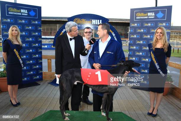 Sky Sports interview trainer Steve Gammon with dog Jetstream Reason after victory in William Hill Champion Hurdle Final with William Hill logo in view
