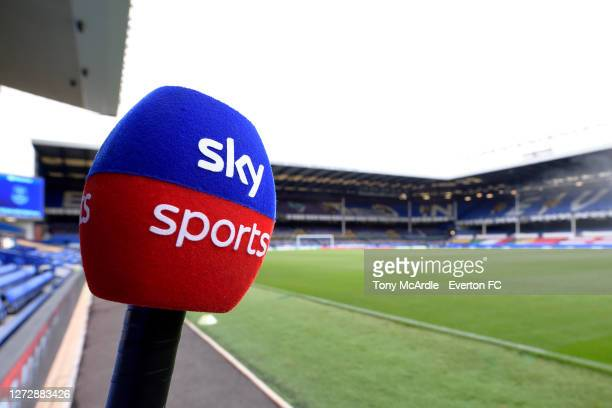 Sky Sports microphone at Goodison Park before the Carabao Cup Second Round match between Everton and Salford City at Goodison Park on September 16...