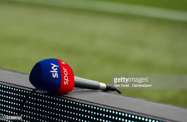 Sky Sports microphone is left on an advertising board inside Elland Road home of Leeds United during the Carabao Cup Second Round match between Leeds...