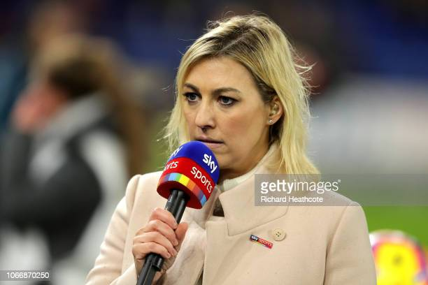 Sky Sports news presenter Kelly Kates speaks ahead of the Premier League match between Cardiff City and Wolverhampton Wanderers at Cardiff City...