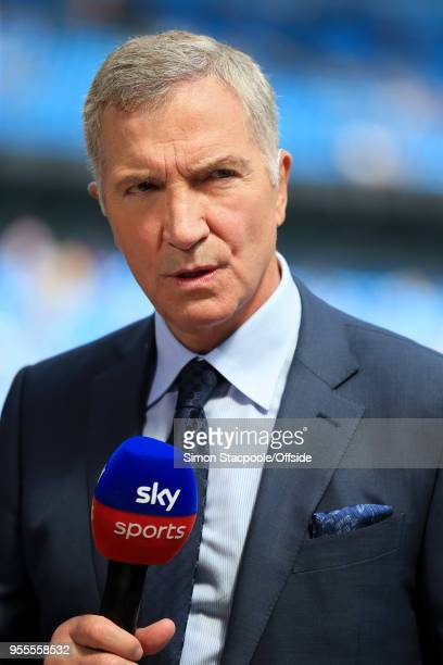 Sky Sports pitchside pundit Graeme Souness looks on during the Premier League match between Manchester City and Huddersfield Town at the Etihad...