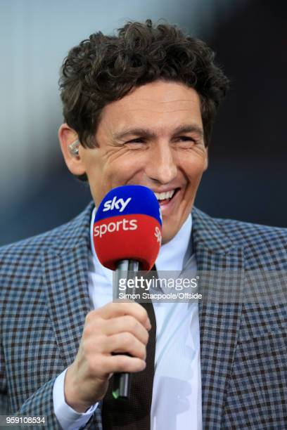 Sky Sports pitchside pundit Keith Andrews speaks during the Sky Bet Championship Play Off Semi Final Second Leg match between Aston Villa and...