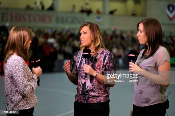 Sky Sports presenter Anna Woolhouse chats with Manchester Thunder coach Karen Greig and Surrey Storm's Becky Trippick