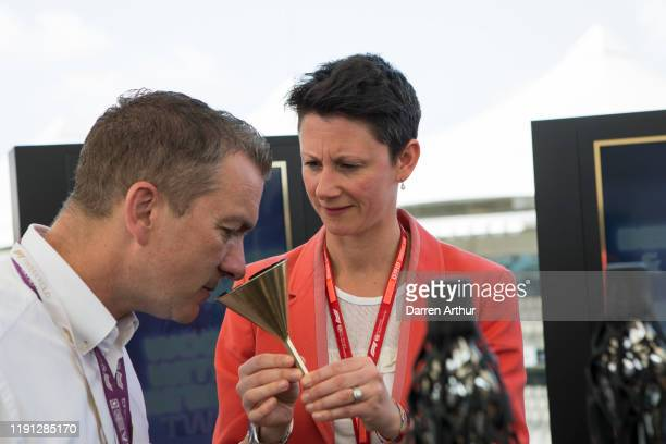 Sky Sports presenter Craig Slater and F1 director of marketing and communications Ellie Norman at the launch of the F1 fragrance at the Formula 1...