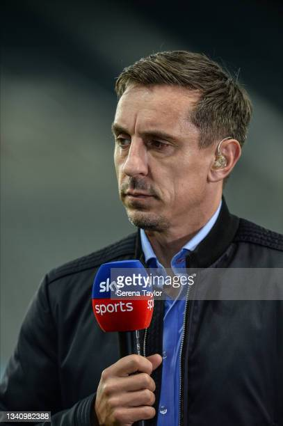 Sky Sports presenter Gary Neville during the Premier League match between Newcastle United and Leeds United at St. James Park on September 17, 2021...
