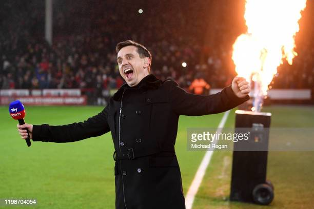 Sky Sports presenter Gary Neville enjoys the atmosphere during the Premier League match between Sheffield United and West Ham United at Bramall Lane...
