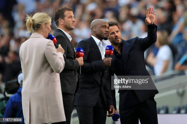 Sky Sports presenter Kelly Cates and former footballers Rafael van der Vaart Nigel ReoCoker and Jamie Redknapp look on prior to the Premier League...