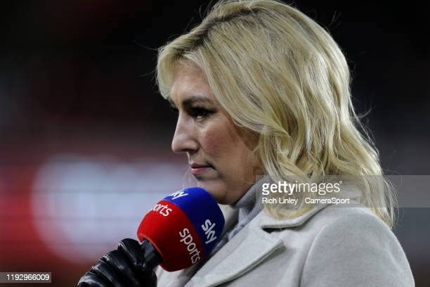 Sky Sports presenter Kelly Cates during the Premier League match between Sheffield United and West Ham United at Bramall Lane on January 10 2020 in...