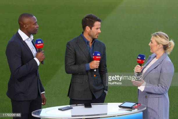 Sky Sports Presenter Kelly Dalglish with Pundits Shola Ameobi and Jamie Redknapp during the Premier League match between Newcastle United and...