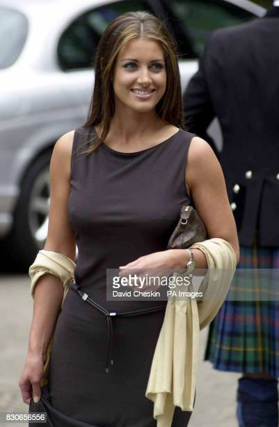 Sky Sports presenter Kirsty Gallacher arrives at the wedding of rugby player Kenny Logan and TV presenter Gabby Yorath at Logie Kirk in Blairlogie...