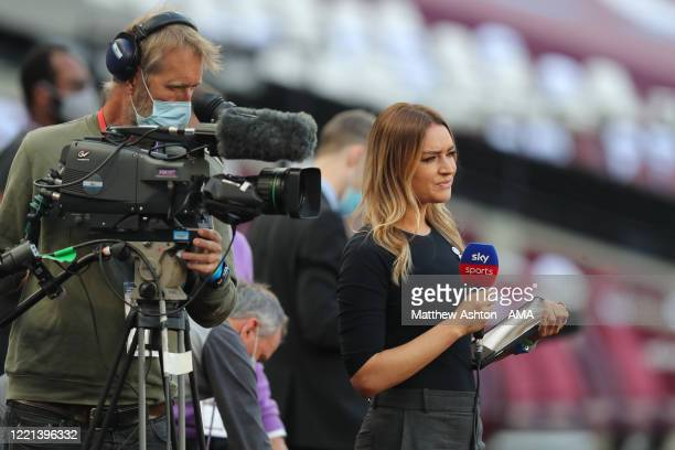 Sky Sports presenter Laura Woods during the Premier League match between West Ham United and Wolverhampton Wanderers at London Stadium on June 20,...