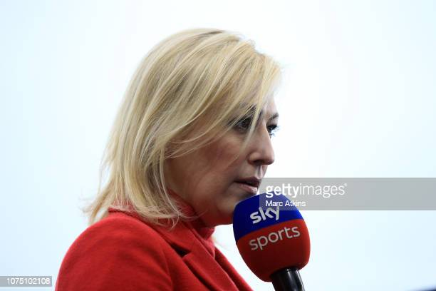 Sky Sports presser Kelly Cates during the Premier League match between Fulham FC and Wolverhampton Wanderers at Craven Cottage on December 26 2018 in...
