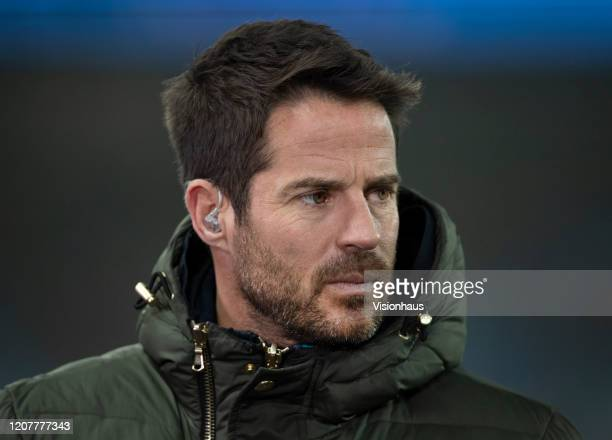 Sky Sports pundit and presenter Jamie Redknapp before the Premier League match between Manchester City and West Ham United at Etihad Stadium on...