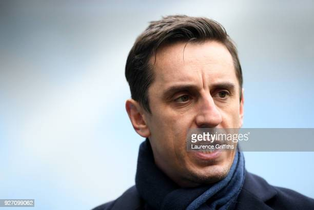 Sky Sports pundit Gary Neville looks on prior to the Premier League match between Manchester City and Chelsea at Etihad Stadium on March 4 2018 in...