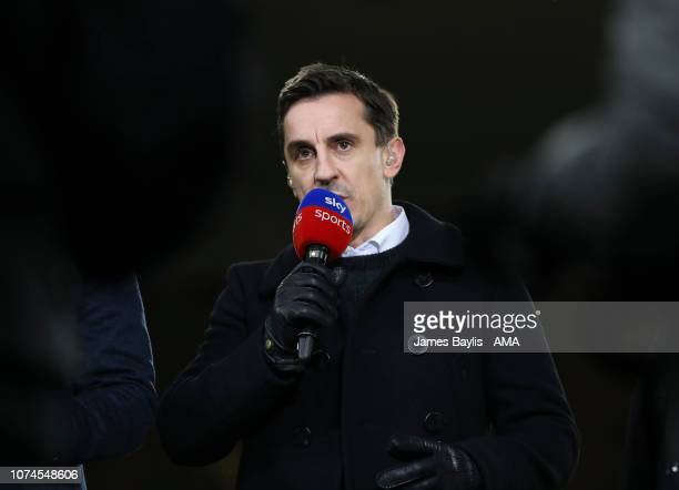 Sky Sports pundit Gary Neville prior to the Premier League match between Wolverhampton Wanderers and Liverpool FC at Molineux on December 21 2018 in...